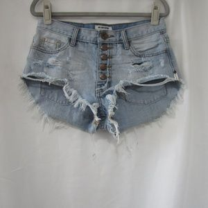 One Teaspoon 26 Rollers Distressed Jean Shorts